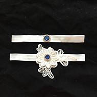 Sztreccs szatén Wedding Garter - Strasszkő Virág