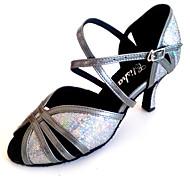 Kan spesialtilpasses-Dame-Dansesko-Latinamerikansk-Kunstlær Glimtende Glitter-Kustomisert hæl-Svart Sølv Grå Gull