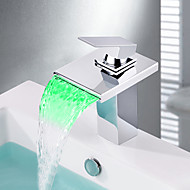 Contemporary Centerset Waterfall LED Ceramic Valve One Hole Single Handle  One Hole Chrome, Bathroom Sink Faucet