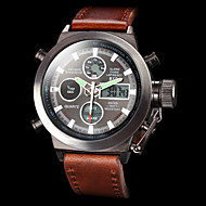 Men's Wrist Watch Digital Watch Japanese Leather Brown 50 m Water Resistant / Waterproof Alarm Calendar / date / day Analog - Digital Luxury - White Black Two Years Battery Life / Stainless Steel