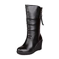 baratos Sapatos Femininos-Mulheres Sapatos Courino Outono / Inverno Botas da Moda Botas Salto Plataforma 20.32-25.4 cm / Botas Cano Médio Branco / Preto / Marron