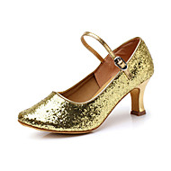 baratos Sapatilhas de Dança-Mulheres Sapatos de Dança Moderna Flocagem Sandália Lantejoulas Salto Carretel Não Personalizável Sapatos de Dança Vermelho / Prateado / Dourado / Ensaio / Prática / Profissional