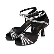 baratos Sapatilhas de Dança-Mulheres Sapatos de Dança Latina / Dança de Salão Courino Sandália Presilha Salto Carretel Personalizável Sapatos de Dança Prateado / Dourado / Púrpura / Crianças / Interior / Ensaio / Prática