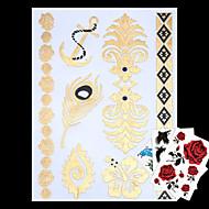 타투 스티커 - Non Toxic/Hawaiian/허리 아래/Waterproof - 쥬얼리 시리즈 - 여성/남성/어른/Teen - 골드/멀티 컬러/실버 - 종이 - 4 - 23*15*0.1cm - Jewelry