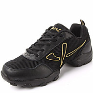 "Men's Dance Sneakers Leather Sneaker Split Sole Outdoor Lace-up Low Heel Black Gold 1"" - 1 3/4"" Non Customizable"