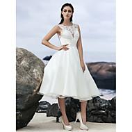 גזרת A בטו צוואר באורך  הברך אורגנזה שמלות חתונה עם תחרה משולבת על ידי LAN TING BRIDE® / שמלות לבנות קטנות