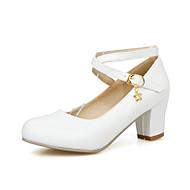 Calçados Femininos - Saltos - Saltos / Plataforma Básica - Salto Agulha - Preto / Azul / Branco / Bege - Courino -Escritório & Trabalho /