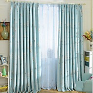 Rod Pocket Grommet Top Tab Top Double Pleat Two Panels Curtain Modern , Print Living Room Polyester Material Blackout Curtains Drapes