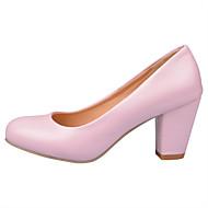 tanie Small Size Shoes-Damskie Obuwie PU Lato Jesień Comfort Buty dla małych druhen Szpilki Spacery Gruby obcas Okrągły Toe na Casual Biuro i kariera Formalne