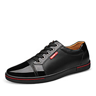 Men's Spring Summer Fall Winter Leather Office & Career Casual Party & Evening Flat Heel Lace-up Black Blue