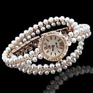 billige Quartz-Dame Modeur Armbåndsur Unik Creative Watch Quartz Imiteret Diamant Legering Bånd Analog Glitrende Bohemisk Perler Guld - Hvid