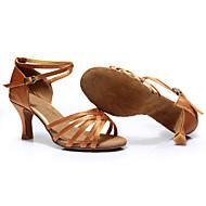 baratos Sapatilhas de Dança-Mulheres Sapatos de Dança Latina / Tênis de Dança Cetim / Courino Salto Cadarço Salto Cubano Personalizável Sapatos de Dança Prateado /