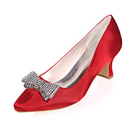 cheap Clearance-Women's Shoes Satin Spring Summer Chunky Heel for Wedding Party & Evening Purple Red Blue Champagne Ivory