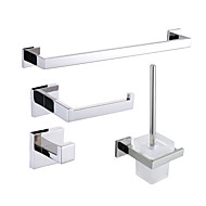 cheap Stainless Steel Series-Bathroom Accessory Set Contemporary Stainless Steel 4pcs - Hotel bath Toilet Brush Holder tower bar Robe Hook Toilet Paper Holders