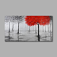 cheap Oil Paintings-Hand-Painted Floral/Botanical Horizontal Panoramic, Modern Oil Painting Home Decoration One Panel