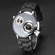 V6 Homens Relógio de Pulso Único Criativo relógio Quartzo Quartzo Japonês Dois Fusos Horários Borracha Banda Preta