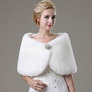 بدون كم فرو فو زفاف / حفلة / سهرة / فضفاض الأغطية الزفاف / Fur Wraps مع حجر كريم شالShawls