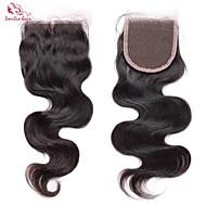 Black Hand Tied Wavy Human Hair Closure Black Korean Lace gram Cap Size