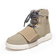 hesapli Hafif Tabanlar-Erkek Ayakkabı Süet Sonbahar Kış Hafif Tabanlar Moda Botlar Rahat Çizmeler Atletik Günlük Dış mekan için Bağcıklı Siyah Gri Kırmzı