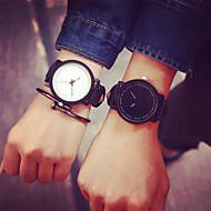 Homens Mulheres Casal Relógio de Moda Quartzo Couro Banda Preta Branco