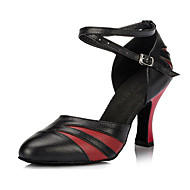 "cheap Customized Dance Shoes-Women's Latin Ballroom Leather Heel Indoor Buckle Chunky Heel Black and Red Black and Gold 2"" - 2 3/4"" Customizable"