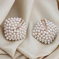 Dame Perle Krystal Imiteret Perle Stangøreringe Øreklips - Luksus Hvid Geometrisk form Øreringe Til Fest Daglig Afslappet