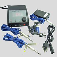 billige Tatoveringssett for nybegynnere-BaseKey Tattoo Machine Profesjonell Tattoo Kit - 1 pcs tattoo maskiner LCD strømforsyning 1 x stål tatoveringsmaskin til lining og skyggelegging