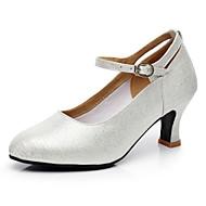 billige Moderne sko-Dame Moderne sko Velourisert Høye hæler Gummi Kubansk hæl Kan ikke spesialtilpasses Dansesko Champagne / Sølv / Innendørs / Trening / Profesjonell
