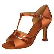 baratos Sapatilhas de Dança-Mulheres Sapatos de Dança Latina Cetim Sandália / Salto Presilha Salto Agulha Não Personalizável Sapatos de Dança Marrom / Azul / Dourado / Interior / Espetáculo / Couro / Ensaio / Prática