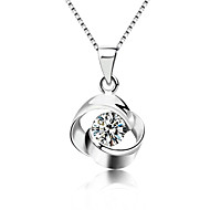 Women's Crystal Pendant Necklace - Sterling Silver, Crystal, Silver Ladies, Fashion Silver Necklace Jewelry For Party, Daily, Casual