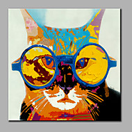 Single Modern Abstract Pure Hand Draw Ready To Hang Decorative With Glasses Cat Oil Painting