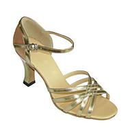 baratos Sapatilhas de Dança-Mulheres Sapatos de Dança Latina Cetim / Courino Sandália / Salto Presilha Salto Robusto Não Personalizável Sapatos de Dança Bronzeado /