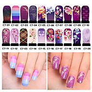 20 pcs 3D Negle Stickers Vandoverførings klistermærke Negle kunst Manicure Pedicure Blomst / Mode Daglig / PVC / 3D Nail Stickers