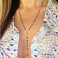 y型の手ビーズのタッセルクロスネックレスクラシックな女性的なスタイル