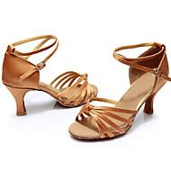 baratos Sapatilhas de Dança-Mulheres Sapatos de Dança Latina Cetim / Courino Sandália Presilha Salto Personalizado Personalizável Sapatos de Dança Preto / Vermelho /