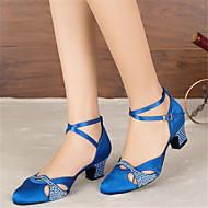 billige Moderne sko-Dame Moderne sko Sateng Sandaler / Høye hæler Rhinsten / Spenne Kustomisert hæl Kan spesialtilpasses Dansesko Svart / Blå / Profesjonell