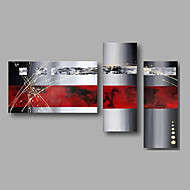 Ready to Hand Stretched Hand-Painted Oil Painting Three Panels Canvas Wall Art Modern Red Grey Abstract