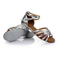 baratos Sapatilhas de Dança-Mulheres Sapatos de Dança Latina Cetim Sandália / Salto / Têni Cadarço de Borracha Salto Robusto Personalizável Sapatos de Dança Prateado / Marrom / Dourado / Interior / Espetáculo / Ensaio / Prática