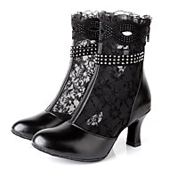 cheap Dance Boots-Women's Latin Shoes Lace / Leather Boots Indoor Rhinestone / Zipper Stiletto Heel Non Customizable Dance Shoes Black