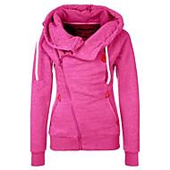 Feminino Jacket Hoodie Casual Simples Sólido Poliéster Sem Elasticidade Manga Longa Outono