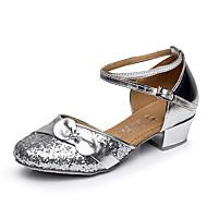 billige Moderne sko-Dame Balett / Sko til latindans / Salsasko Velourisert Flate / Sandaler Sløyfe Tykk hæl Kan ikke spesialtilpasses Dansesko Sølv / Gull