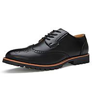 メンズ 靴 レザー 春 夏 秋 冬 去勢牛の靴 ブーティー オックスフォードシューズ ウォーキング 編み上げ 用途 カジュアル パーティー ブラック ライトブラウン