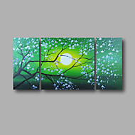 "Ready to Hang Stretched Hand-painted Oil Painting 48""x24"" Three Panels Canvas Wall Art Pink Blossom Flowers Green"