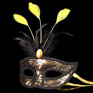 Anjo e Diabo Máscara Baile de Máscara Unisexo Dia Das Bruxas Carnaval Festival / Celebração Trajes da Noite das Bruxas Ouro + Black