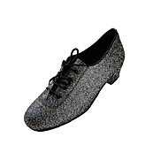 cheap Modern Shoes-Women's Modern Sparkling Glitter Fabric Sneaker Indoor Performance Professional Beginner Practice Sequin Lace-up Cuban Heel Black and