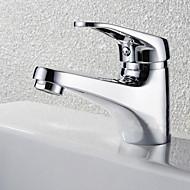 billige Rabatt Kraner-Moderne Vannrett Montering Keramisk Ventil Enkelt Håndtak Et Hull Krom, Baderom Sink Tappekran