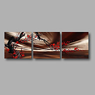"Ready to Hang Stretched Hand-painted Oil Painting 72""x24"" Three Panels Canvas Wall Art Red Blossom Brown"