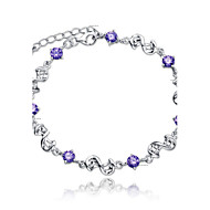 Women S Crystal Chain Bracelet Charm Sterling Silver Las Simple Style Fashion Bridal White Purple For Wedding Party