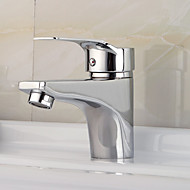 Contemporary Deck Mounted Ceramic Valve One Hole Single Handle One Hole Chrome , Bathroom Sink Faucet