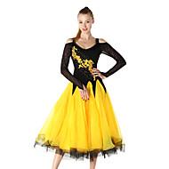billige Udsalg-ballroom dans Kjoler Dame Ydeevne Nylon / Pandekage Broderi / Krystal / Rhinsten Langærmet Kjole / Moderne Dans / Opvisning